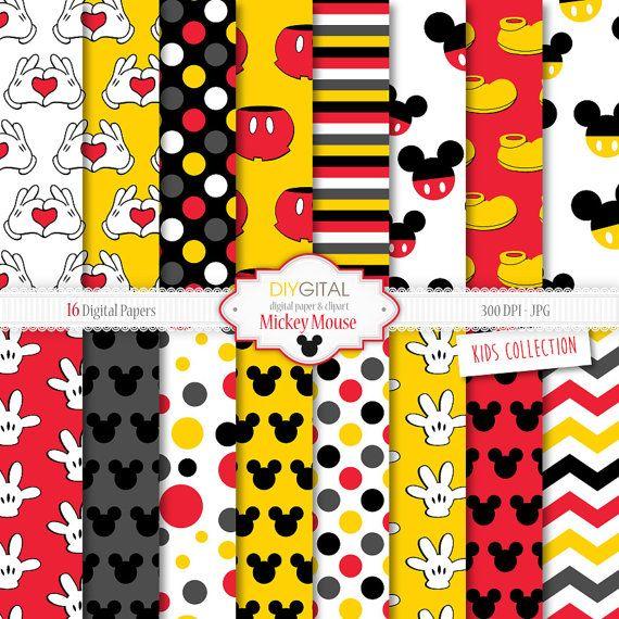 """Mickey Mouse Inspirado Digital Papel """"MICKEY MOUSE"""" Con"""