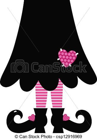 Cute Valentines Witch legs isolated on white - csp12916969
