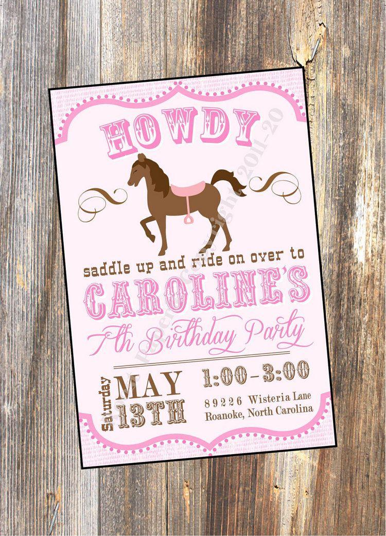 Pink PONY Invitation, HORSE Party, Horse Birthday Party Invitation ...