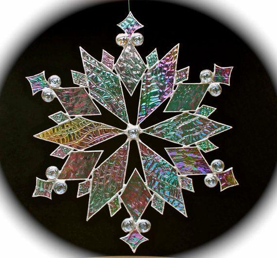 stained glass snowflakes | stained glass snowflake suncatcher design 18 by bitsandglassart
