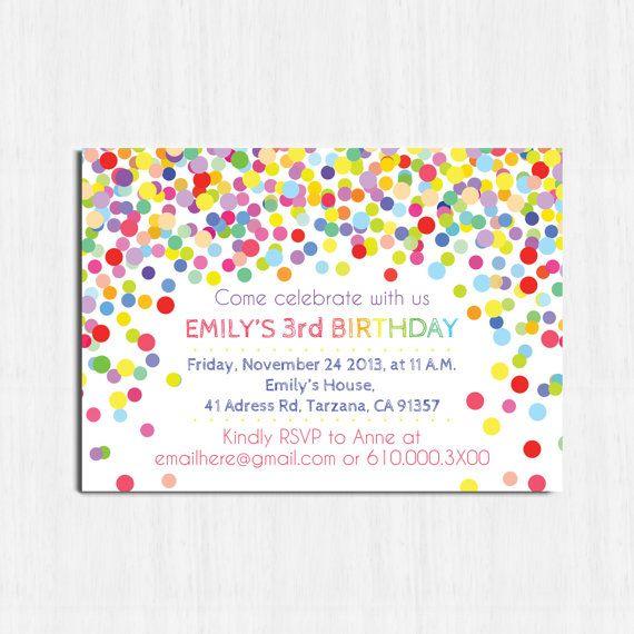 confetti birthday invitation printable birthday invitation