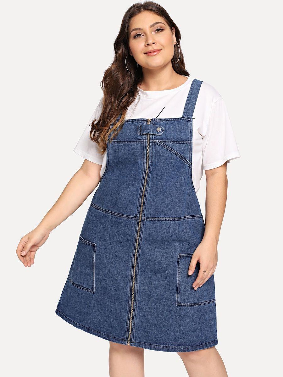 0b73f73d89c Plus Zip Front Denim Overall Dress -SheIn(Sheinside) | Mori -chan in ...