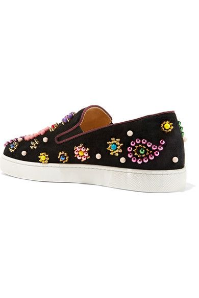 c823f3f13529 Christian Louboutin - Boat Candy 20 Embellished Suede Slip-on Sneakers -  Black - IT35