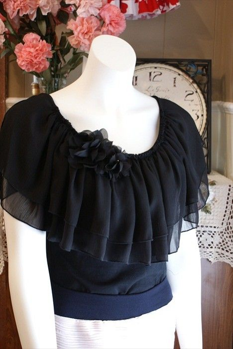 Black Peasant Style Nursing Top with Peekaboo Goddess Sleeves - by WyldChicBoutique on madeit