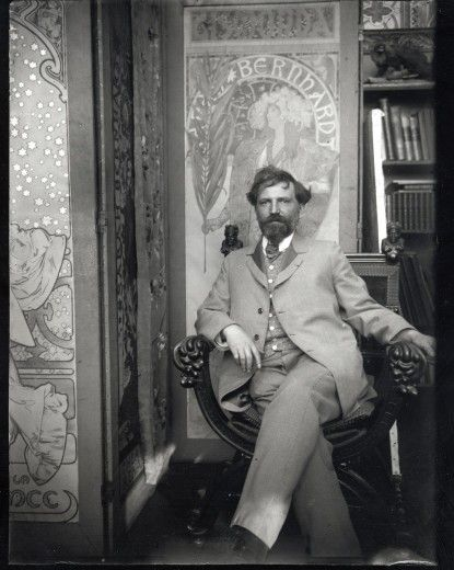 Alfons Mucha: Self-portrait with posters for Sarah Bernhardt, in his studio, Rue du Val de Grâce, Paris (c.1901)