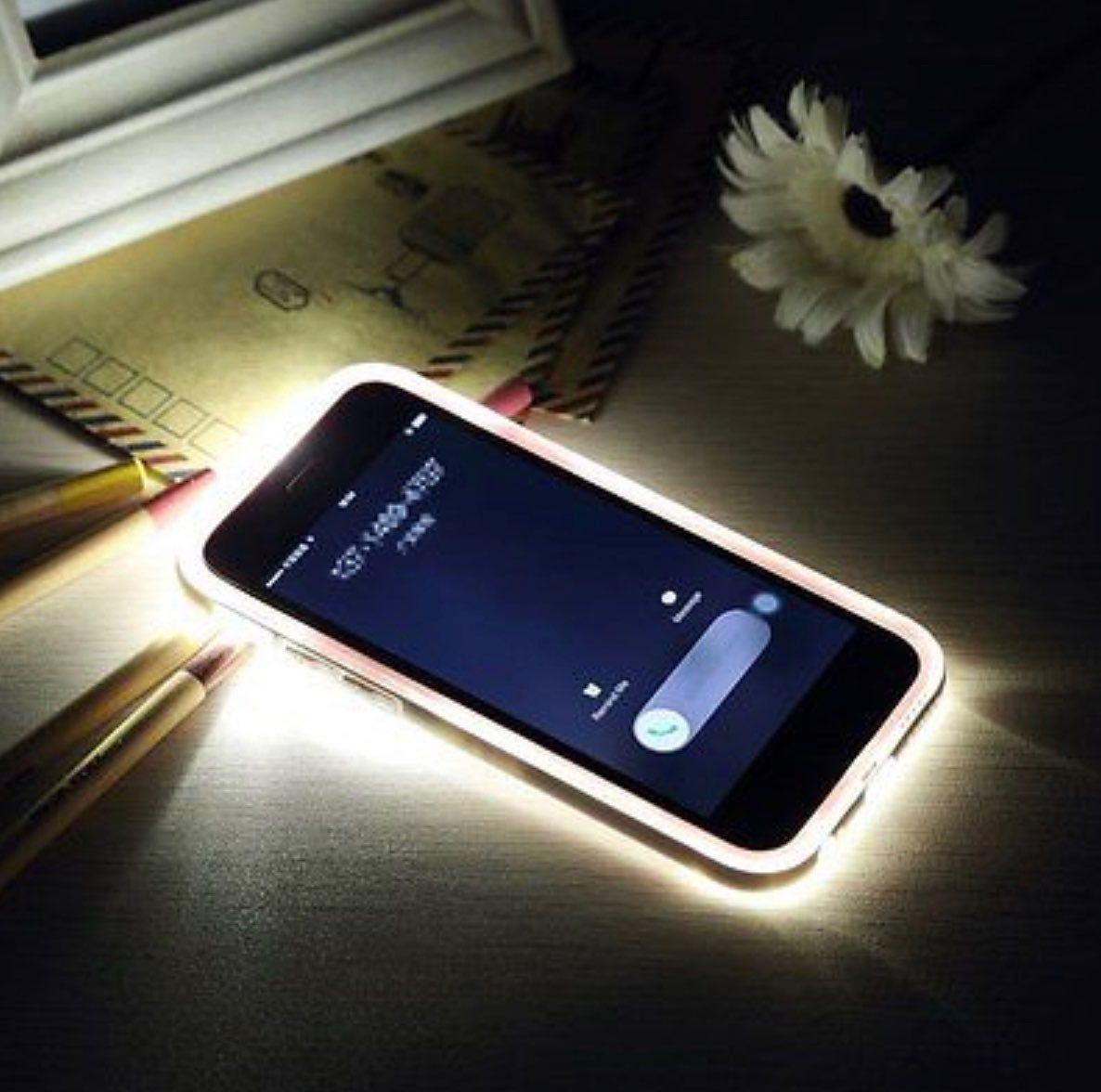 Led Flash Light Up Incoming Call Clear Back Cover Case For