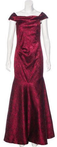 Theia Metallic Off-the-Shoulder Gown