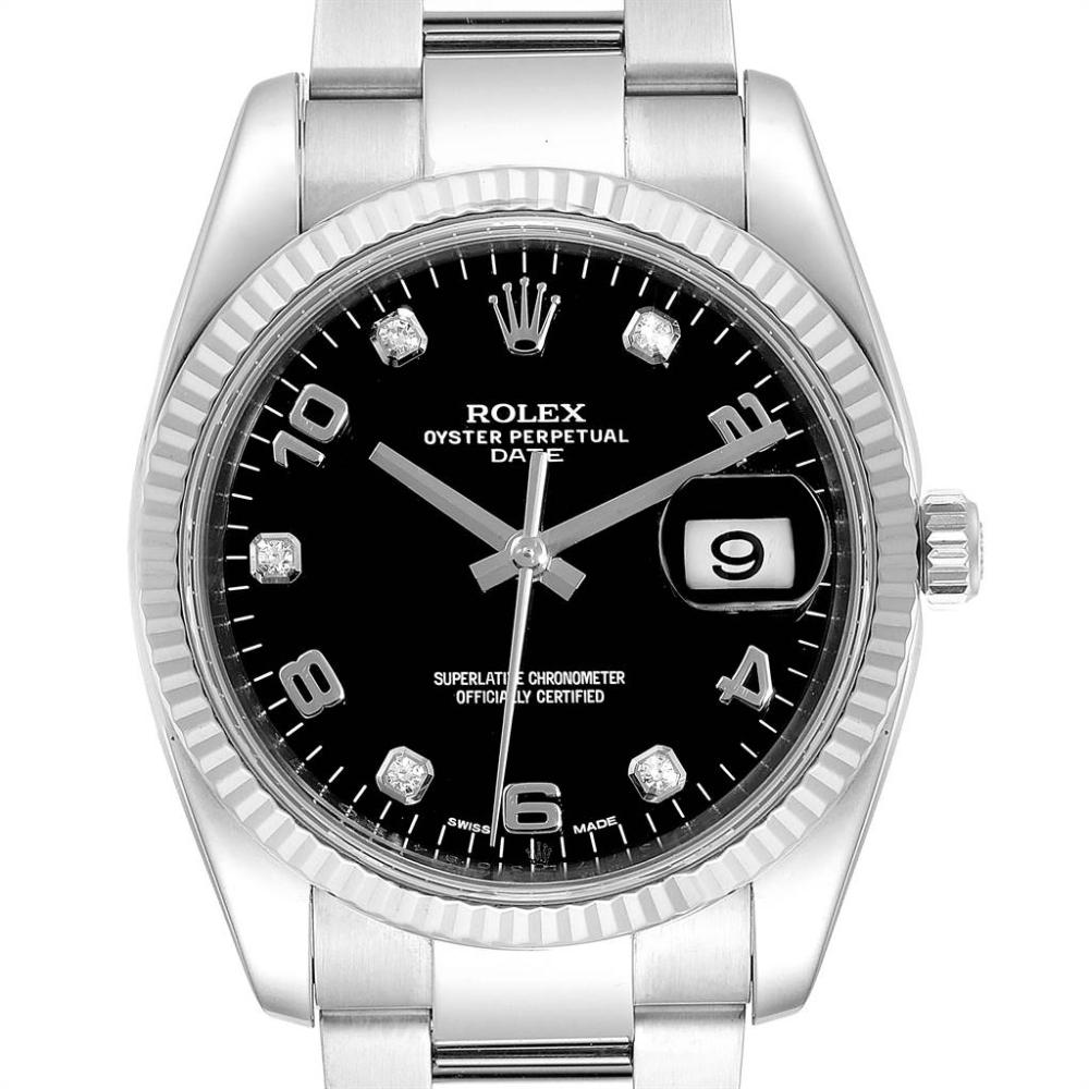 Rolex Date 36 Steel White Gold Black Diamond Dial Mens Watch 115234 Swisswatchexpo Rolex Date Watches For Men Rolex
