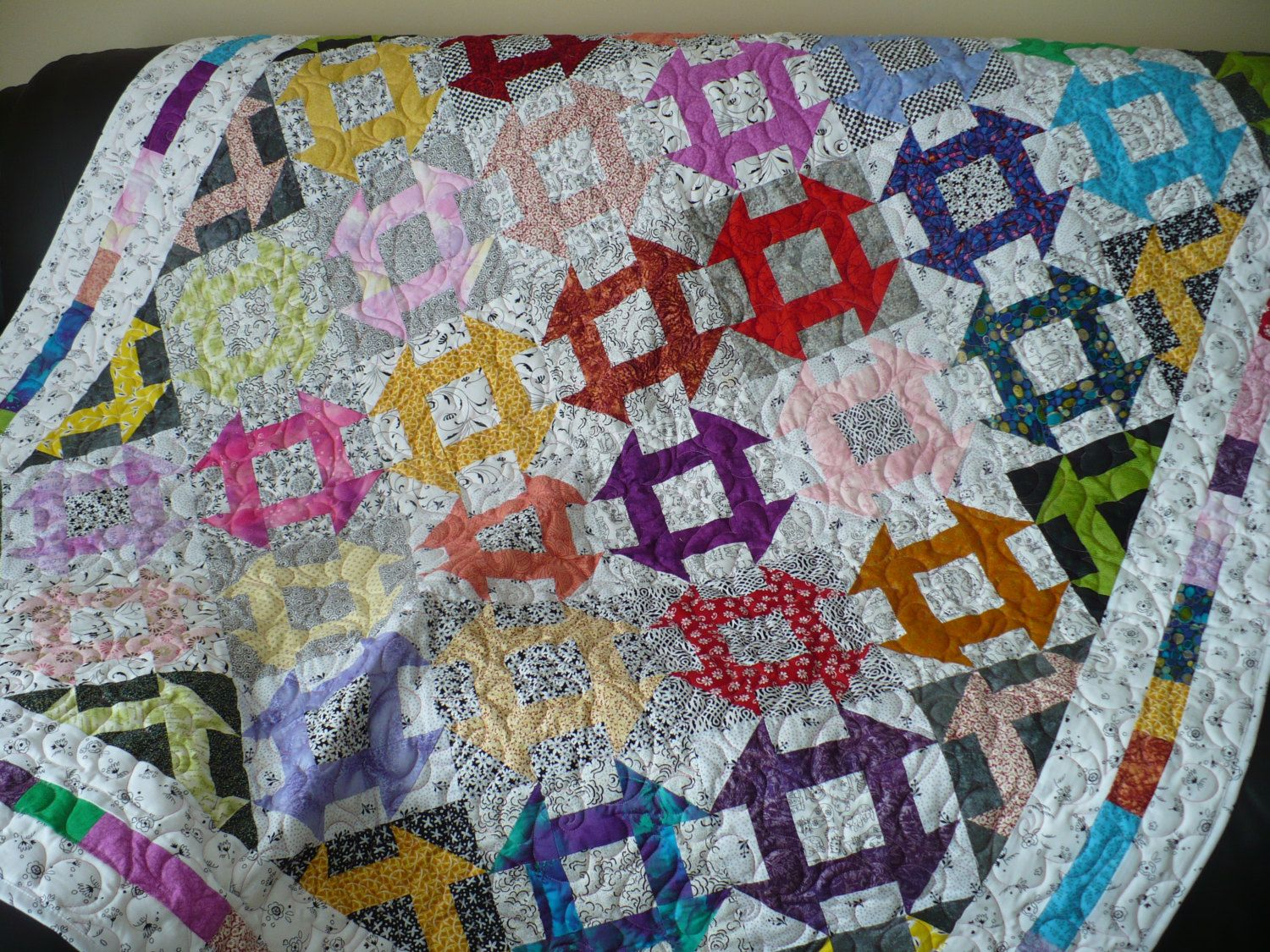 Bright Scrappy Quilt small bed quilt large lap quilt Churn Dash ... : batik patchwork quilt - Adamdwight.com