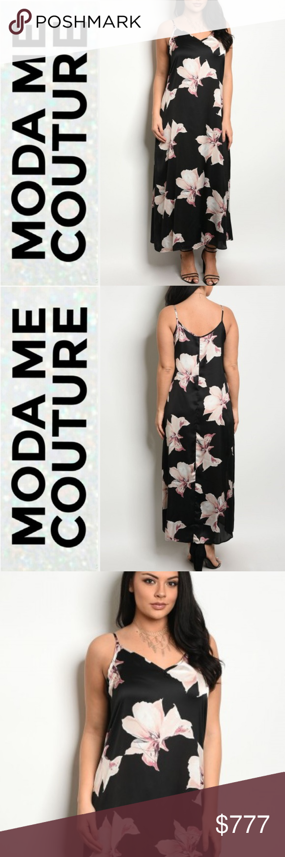 "S/S 2018 OVERSIZE FLORAL PRINT MAXI DRESS BRAND NEW BOUTQIUE ITEM PRICE IS FIRM  FROM OUR SPRING/SUMMER 2018 COLLECTION!!  FABULOUS IN FLORALS this plus size oversized floral print satin maxi dress features a V neckline, spaghetti straps and a classy fit. Grab your statement earrings and heels. You can also pair this with a demin jacket or lovely sweater.  Dress is as seen in pics, modeled in a 1X MADE IN THE USA 100% POLYESTER "" floral flowers vacation cruise getaway party black cream pink"
