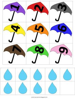 ourhomecreations: Number recognition with raindrops and umbrellas