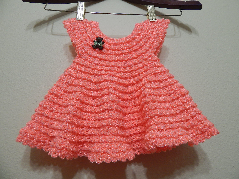 9bff27825 Vestido Crochet 0-3 meses Durazno y cualquier talla parte 1 de 2 ...