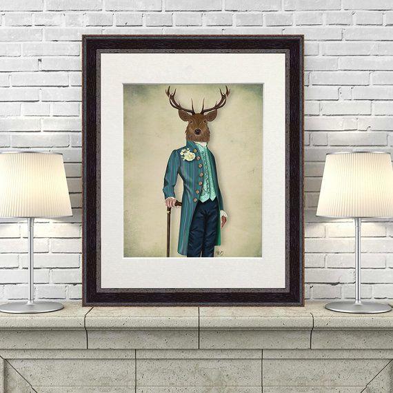 Deer print  The Flamboyant Deer  Deer art man cave by LoopyLolly