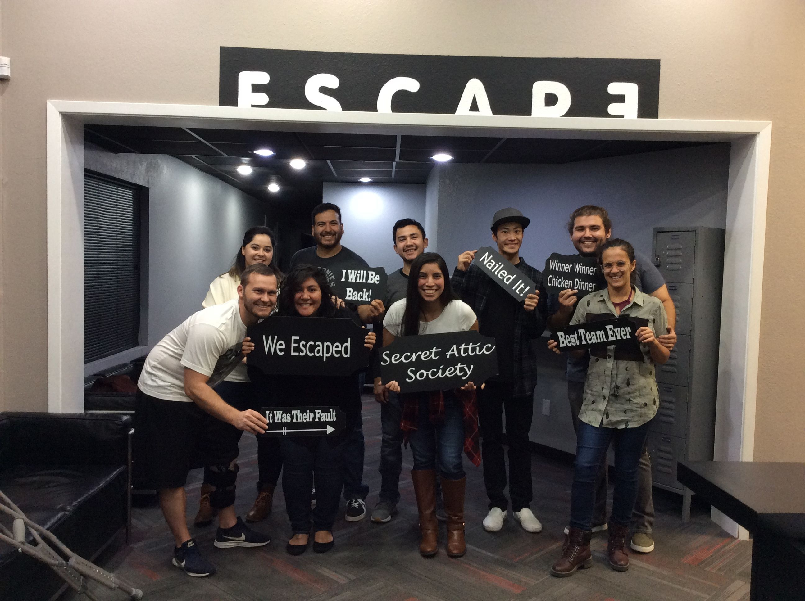This Group Earned Their Membership Into The Secret Attic Society Today With A Finishing Time Of 53 Minutes Escape Room The Secret Society