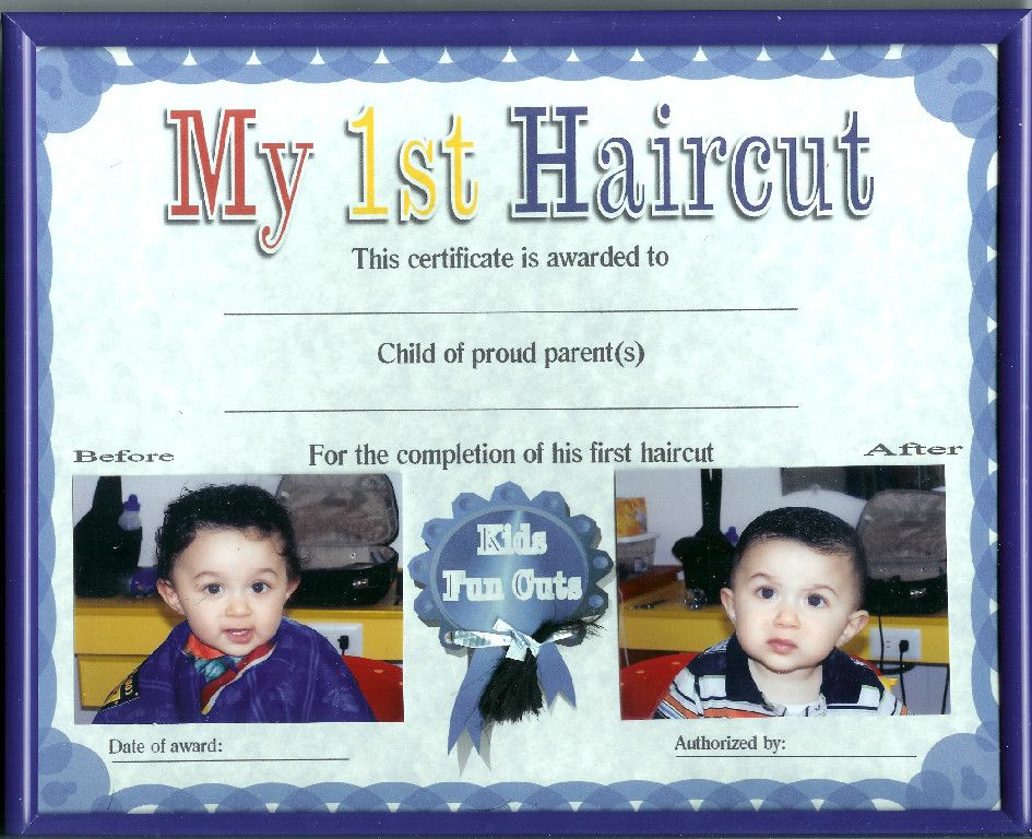 Kids Haircuts Kids Ear Piercings Child First Haircut Certificates