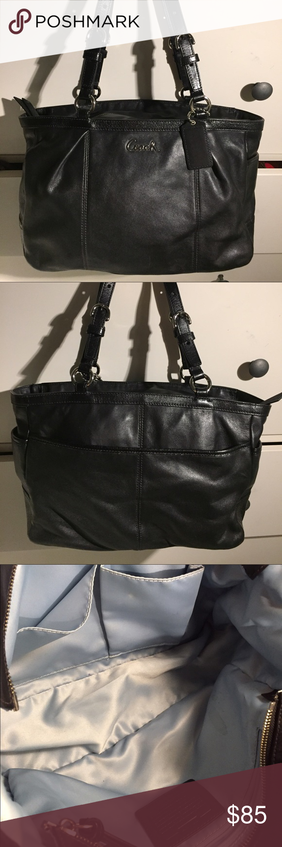 Beautiful very soft leather coach purse Gentle used , black coach, zipper works just fine . Coach Bags Totes
