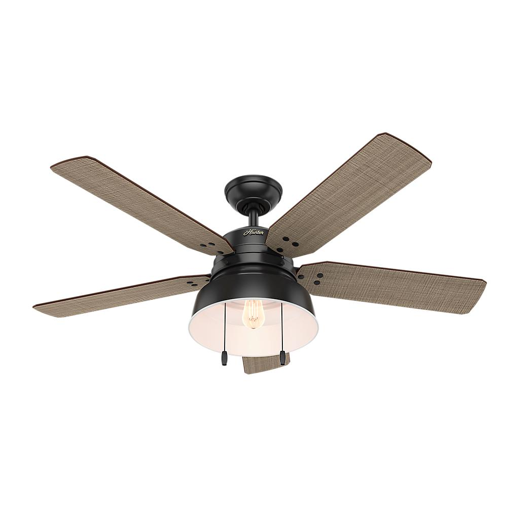 Hunter Mill Valley 52 In Led Indoor Outdoor Matte Black Ceiling Fan With Light 59307 The Home Depot Black Ceiling Fan Ceiling Fan With Light Hugger Ceiling Fan