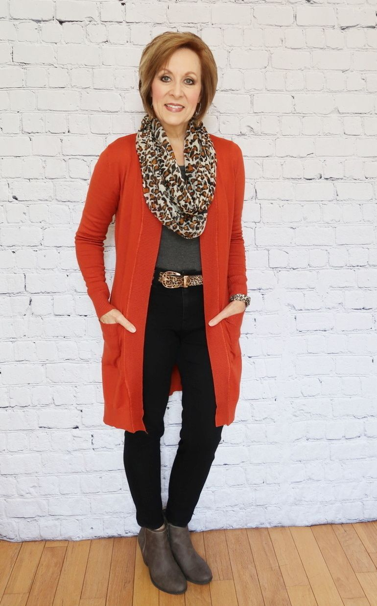 Three Ways to Style a Pumpkin Duster Cardigan – Day #1 – 50 With Flair