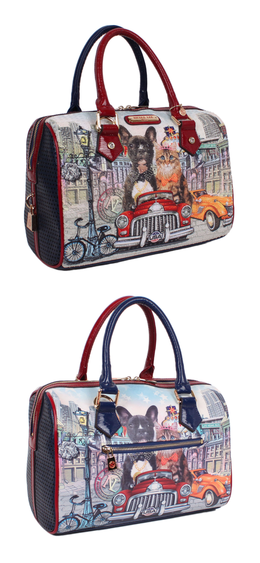 be16354ce CITY DRIVE PRINT BOSTON BAG by Nicole Lee #nicolelee #purse #bostonbag  #handbag #cartera #NL