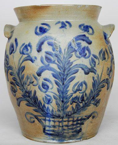 "Six gallon stoneware crock, attributed to David Parr, Sr., Baltimore, MD, circa 1830, H 15"""
