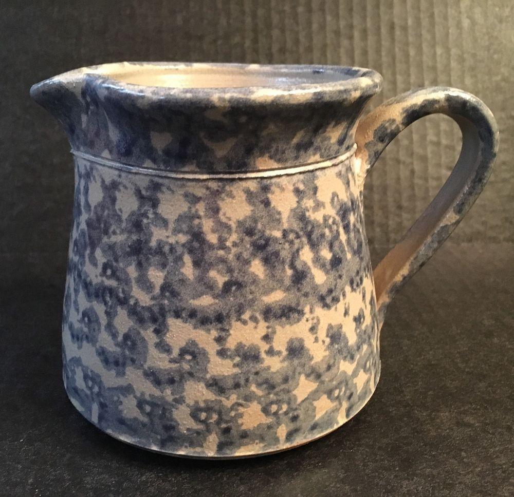 Ellis Pottery Blue Spongeware Pitcher
