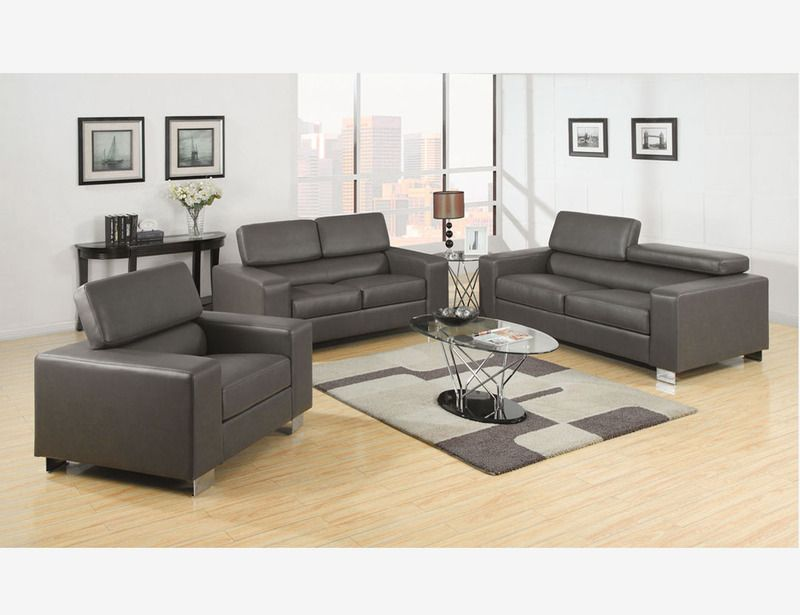 Gray Leather Sofa Couch Loveseat Chair Living Room Set Adjust Headrest