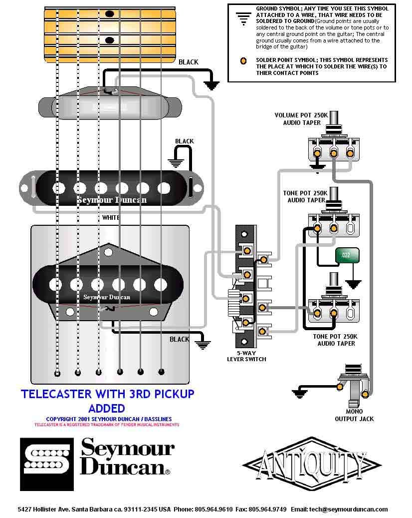 Tele wiring diagram with a 3rd pickup added telecaster build on dean guitar wiring diagrams Three-Way Switch Wiring Guitar LTD Guitars Wiring Diagrams For