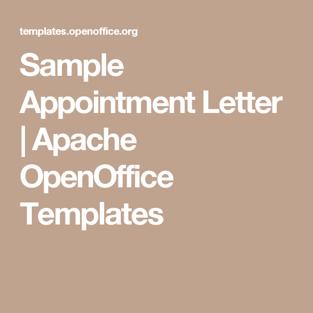 Sample Appointment Letter  Apache Openoffice Templates  Letter