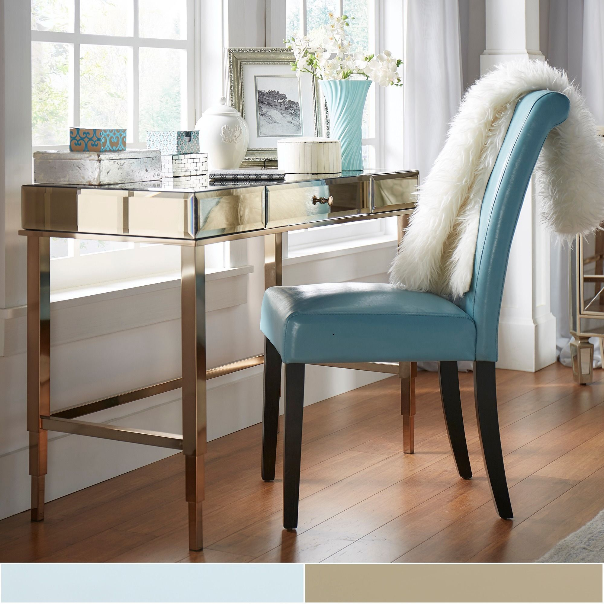 Add some glamour and functionality to any space with this Inspire Q mirrored  writing desk.