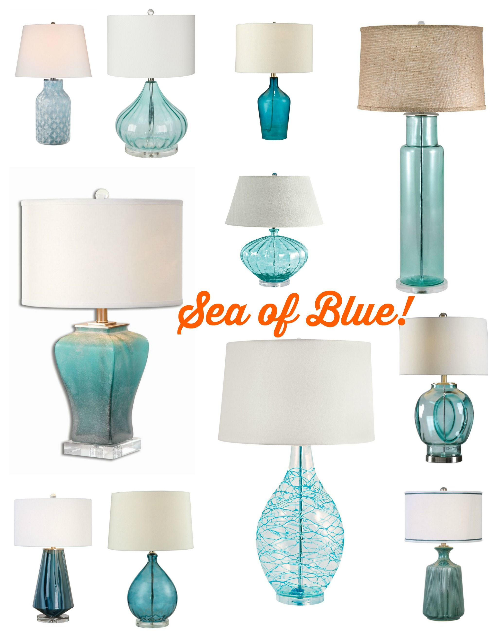 Coastal Lamps A Sea Of Blue And Aqua Lighting Options Let Us Help You Choose