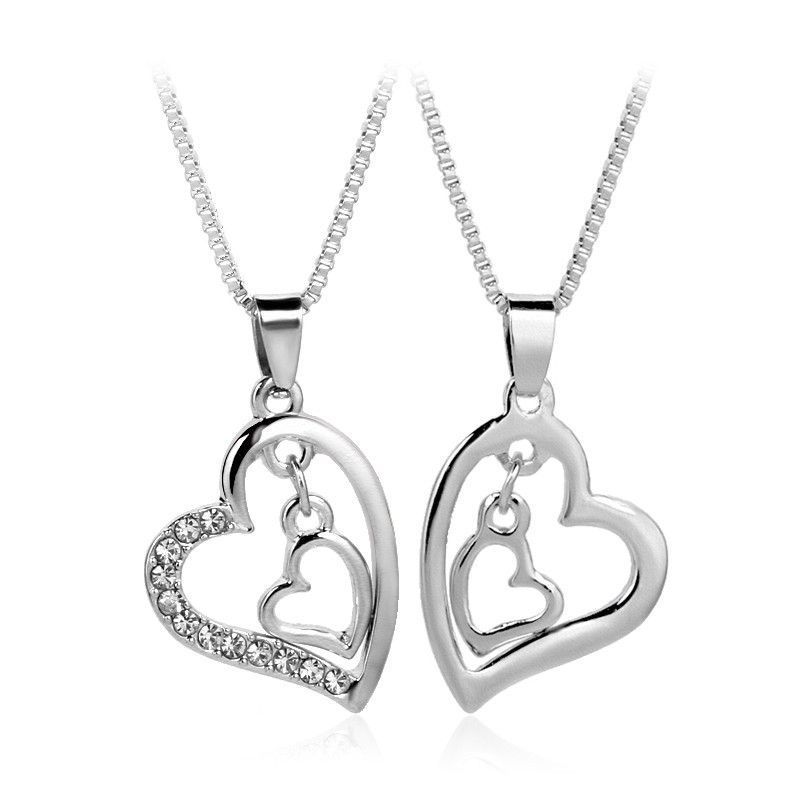 Silver Plated Double Hollow Heart Crystal Pendant Necklaces