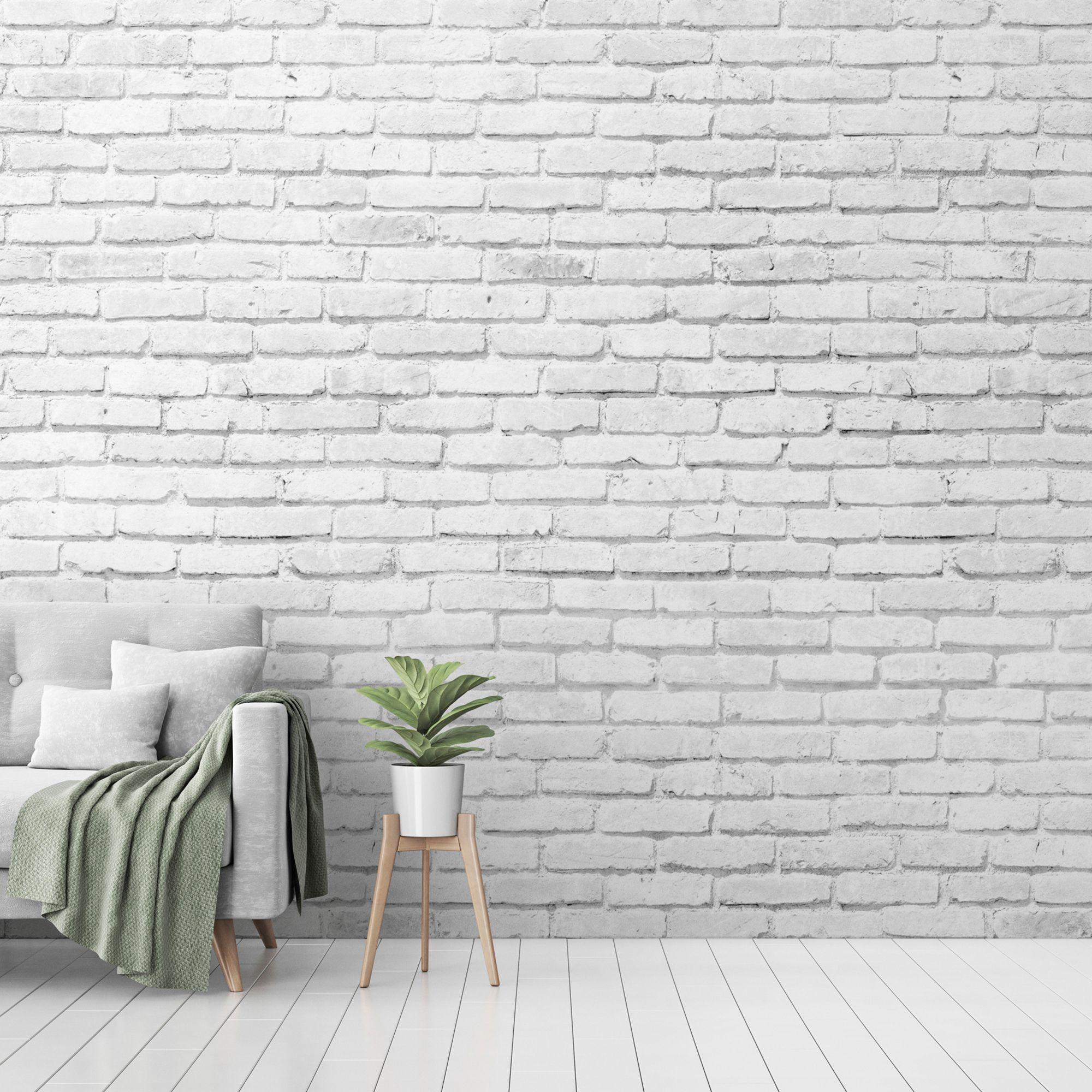 Goodhome Balonga White Brick Matt Mural In 2020 Brick Wall Living Room Brick Wallpaper Living Room Brick Wall Bedroom