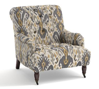 Dempsy Upholstered Armchair, Polyester Wrapped Cushions, Ikat Geo Gray