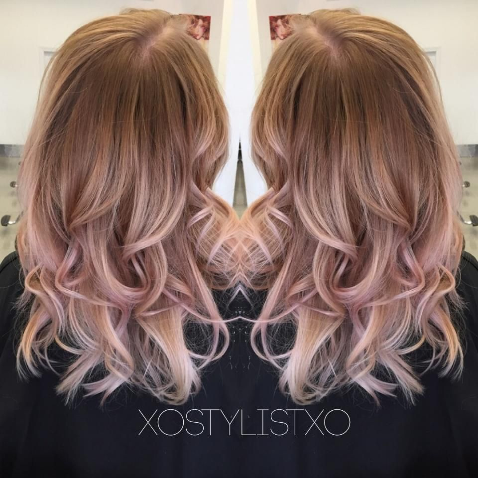 Beige rose gold sombre. Rose hair, Dusty rose hair