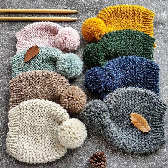 Knit Hat Pattern Knitting Pattern Pom Pom Hat Pattern Knit | Hats ...