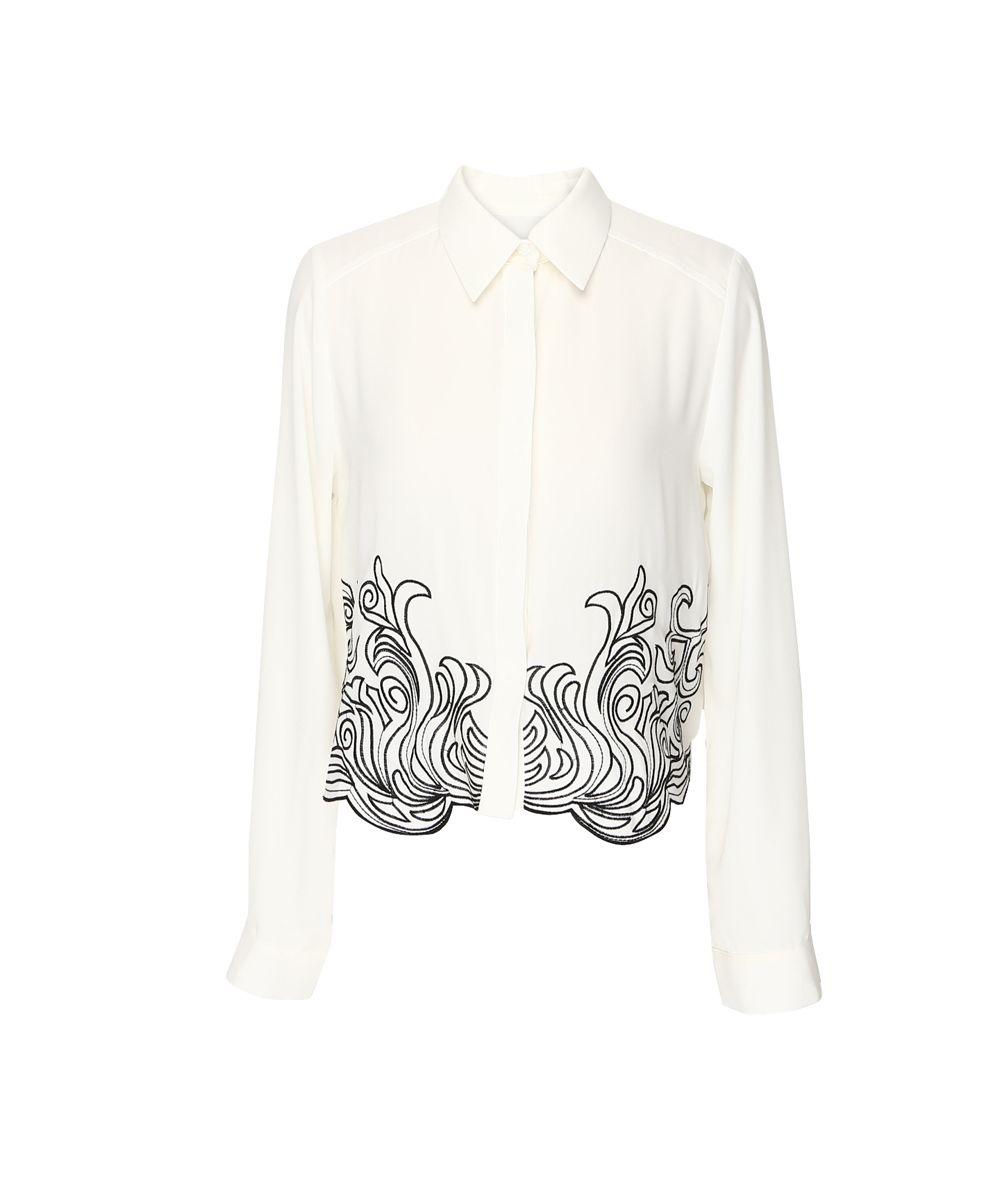 Swirl Trim Embroidery Blouse // Storets.com // #STORETS #Pattern #Shirt