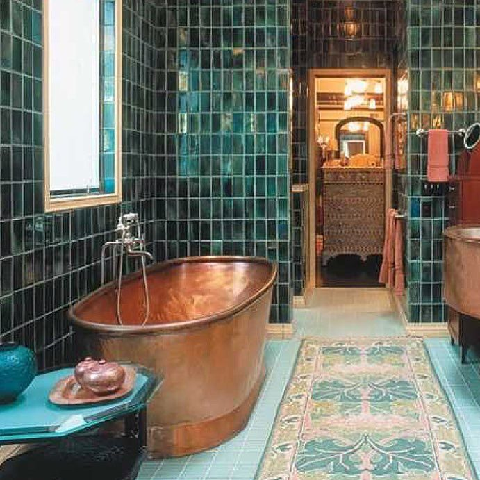 Bathroom Inspiration The Combination Of The Copper Tub And Dark Green Tile Is Absolute Modern Interior Design Amazing Bathrooms Copper Tub
