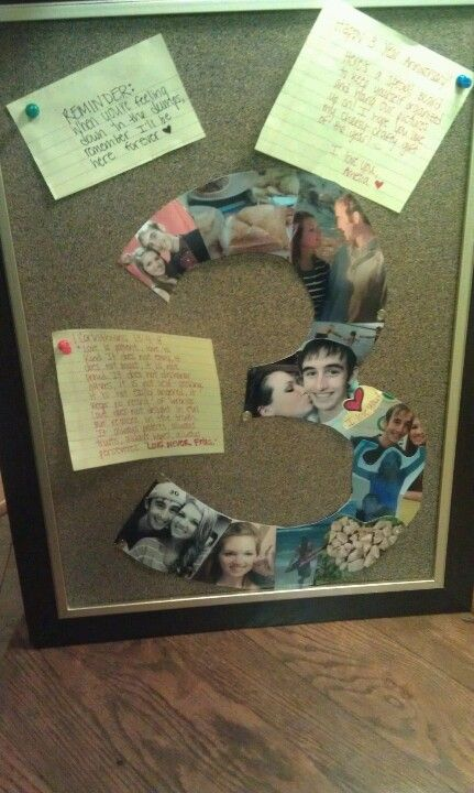 Anniversary memory board, great gift! I used a 3 to collage my pictures together (for 3 yrs)