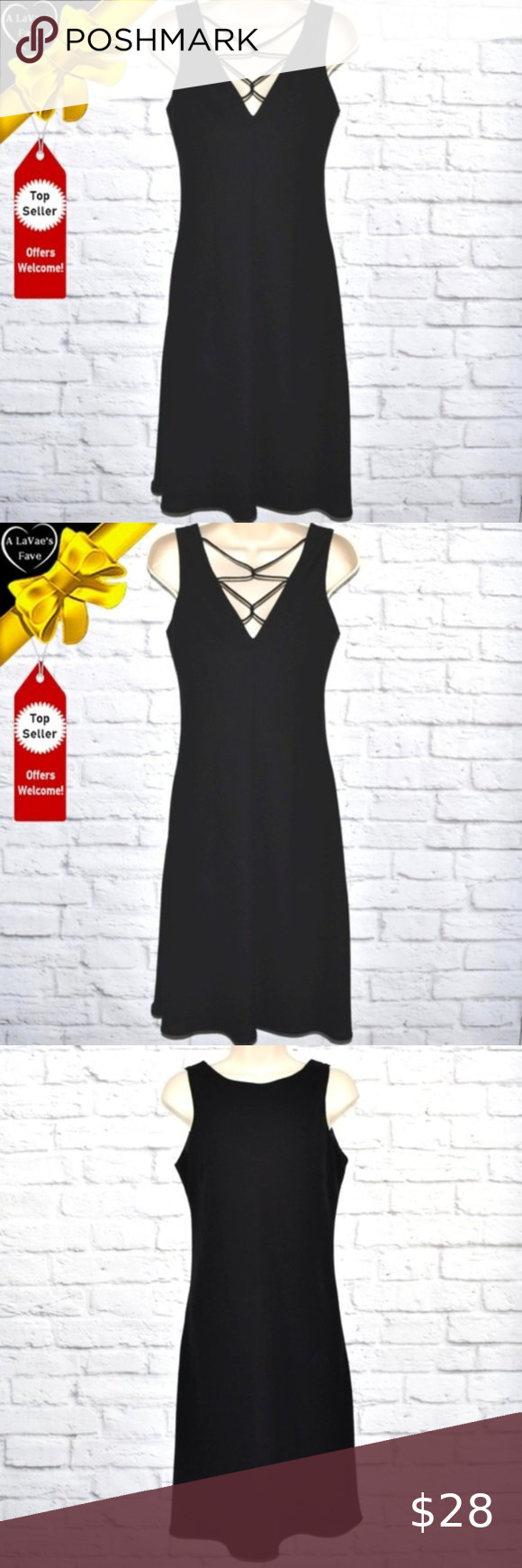 Evan Picone Lace Up Back Little Black Dress In 2020 Little Black Dress Black Dress Dresses