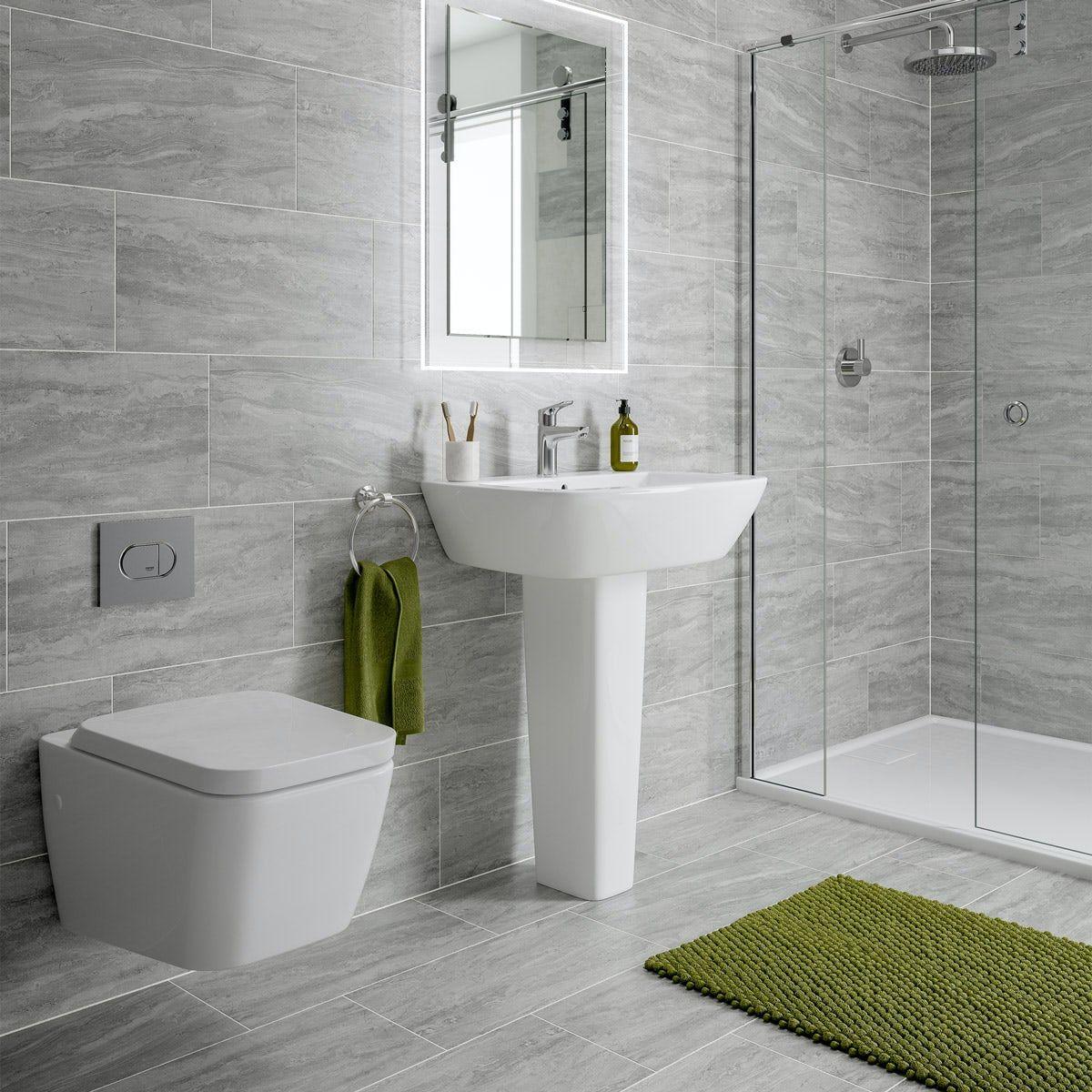 Arctic Grey Marble Effect Matt Wall And Floor Tile 300mm X 600mm In 2020 Wall Floor Tiles Marble Effect Tile Floor