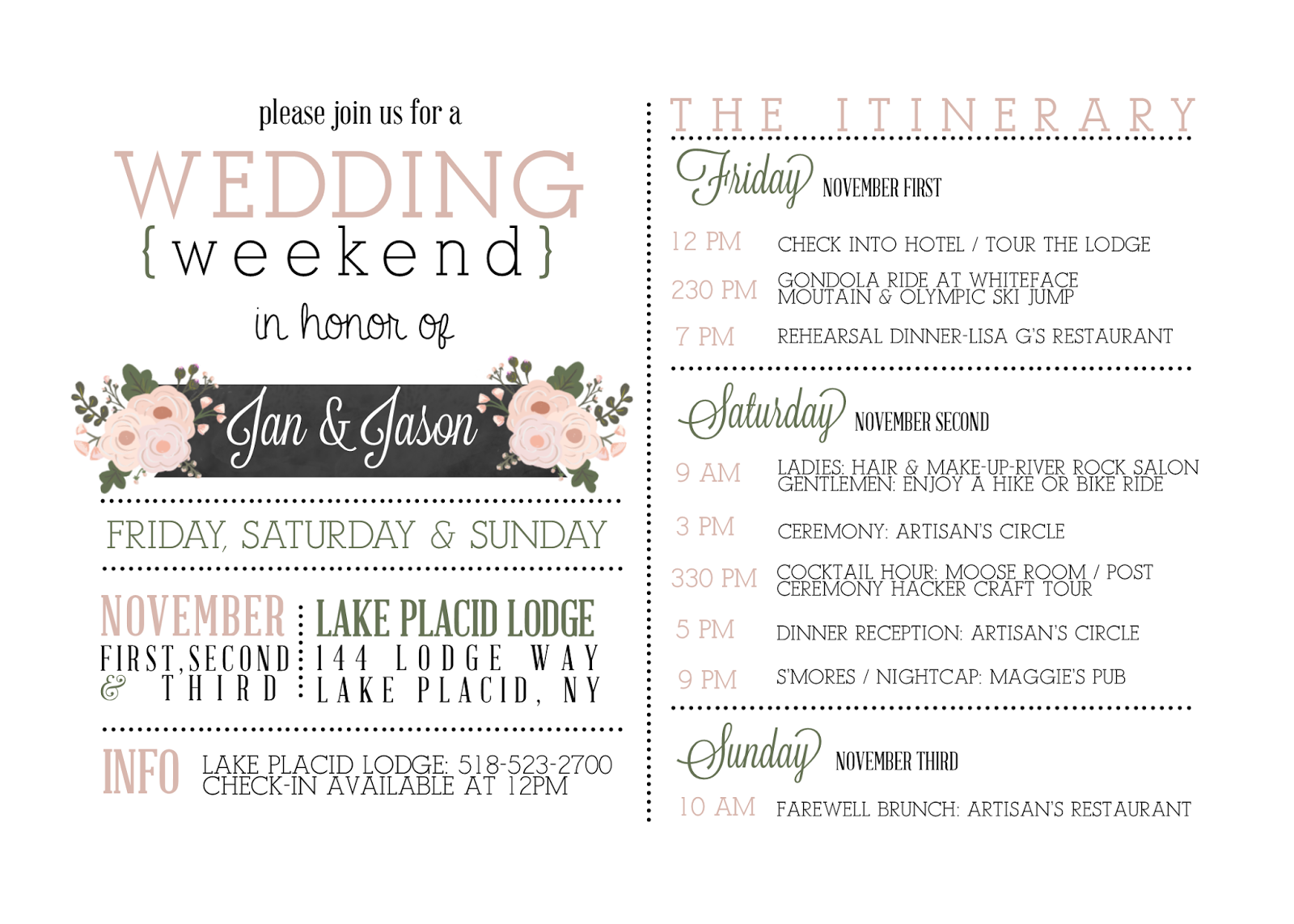 Wedding Weekend Itinerary  Google Search   Pinteres