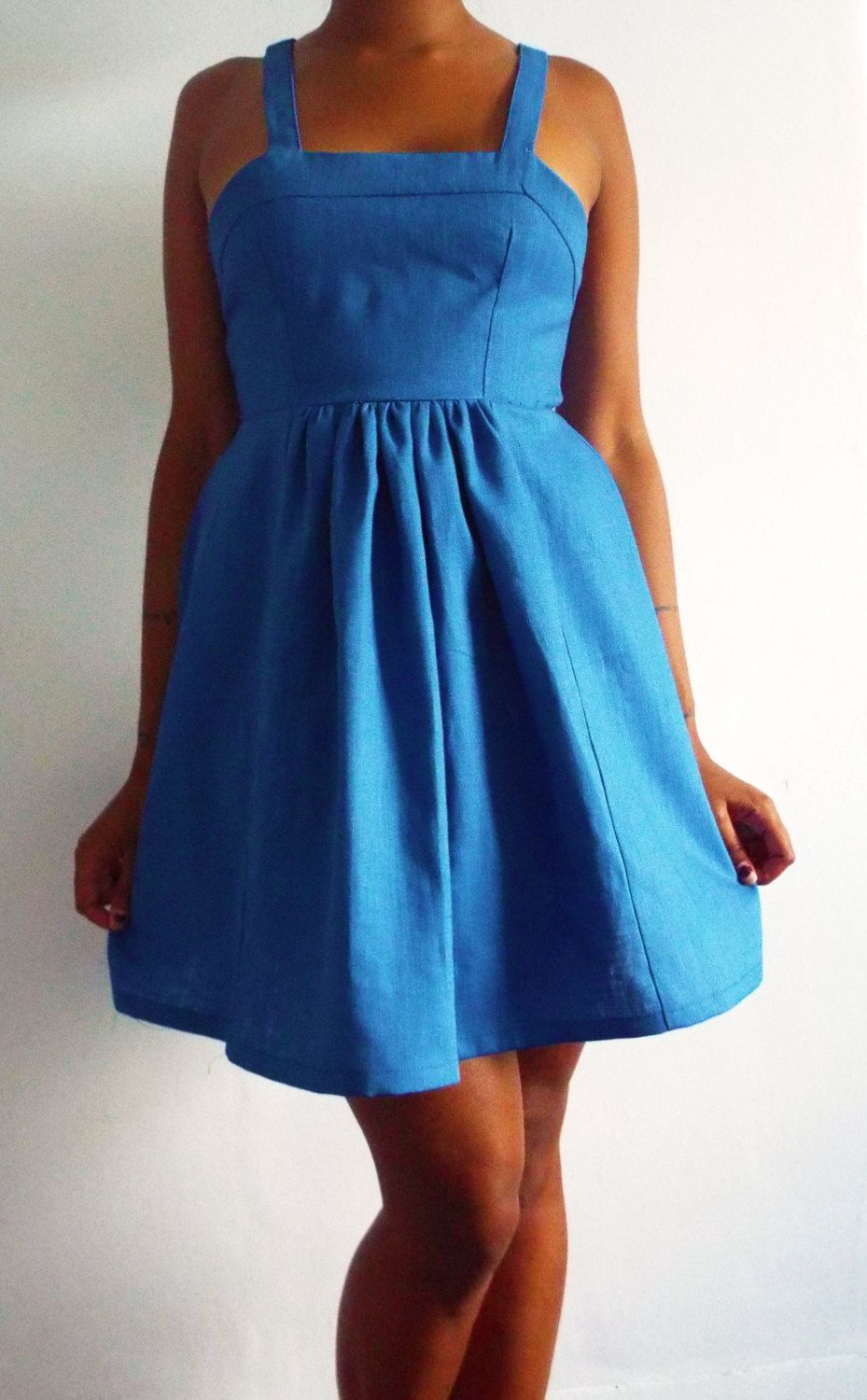Blue Pinafore Style Dress Handmade Available in UK Size 8 10 12 by MelanieJaneBoutique on Etsy