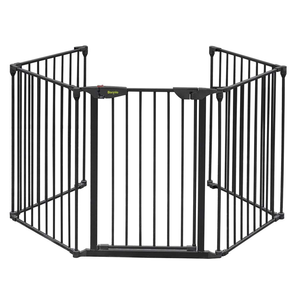 Bonnlo 121 Inch Metal Fireplace Fence Guard 5 Panel Baby Safety Gate Barrier Play Yard With Door Christmas Tree Fe In 2020 Fireplace Safety Baby Safety Gate Baby Gates