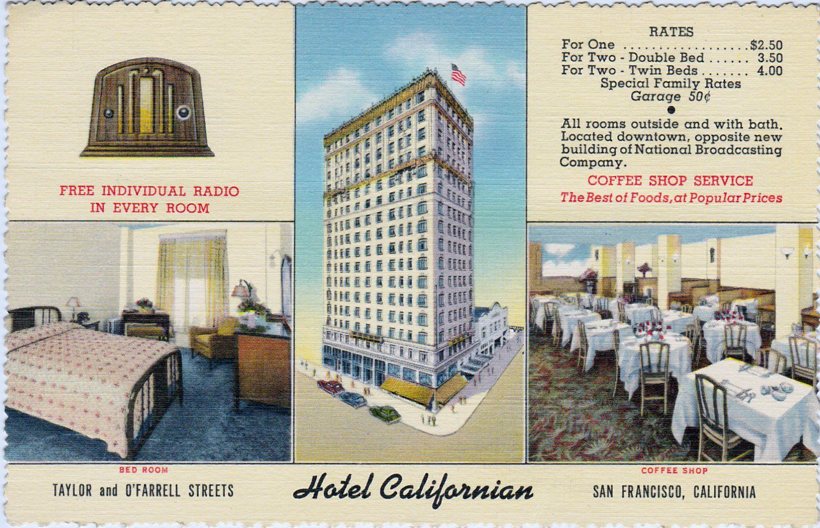 Californian Hotel Taylor O Farrell Streets San Francisco Ca Postmarked Dec 1 1941 Written By Sender Arrived Here Shortly After Six Our Bus Was Fille