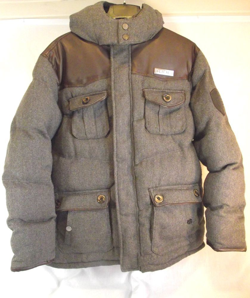 COOGI Mens Herringbone Faux Leather Brown Coat Jacket Hood