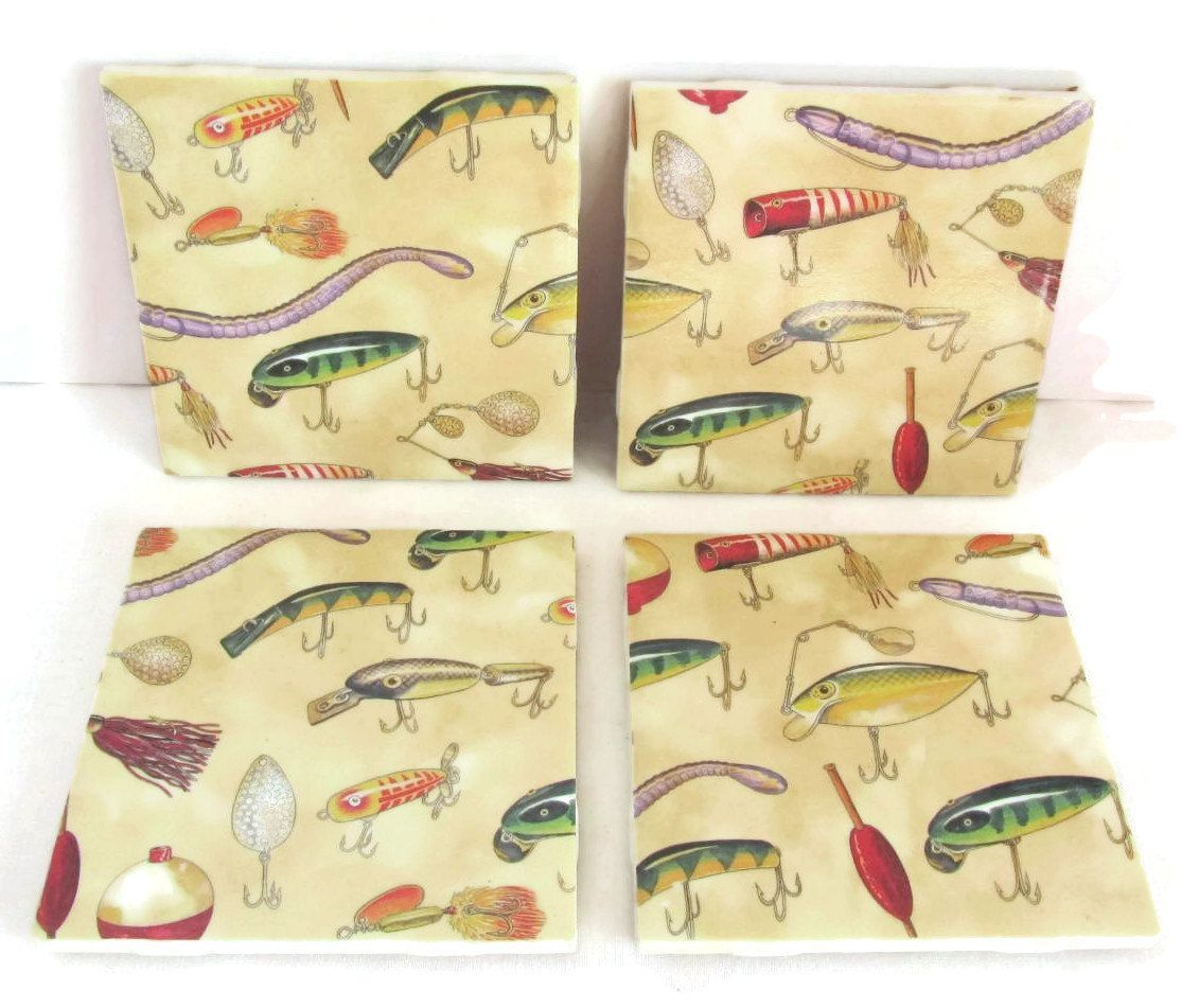 Ceramic tile coasters with fishing lures design in yellow, green, purple, orange, and silver. Would dress up that fishing cabin on the lake. by ThePrimroseCottage on Etsy