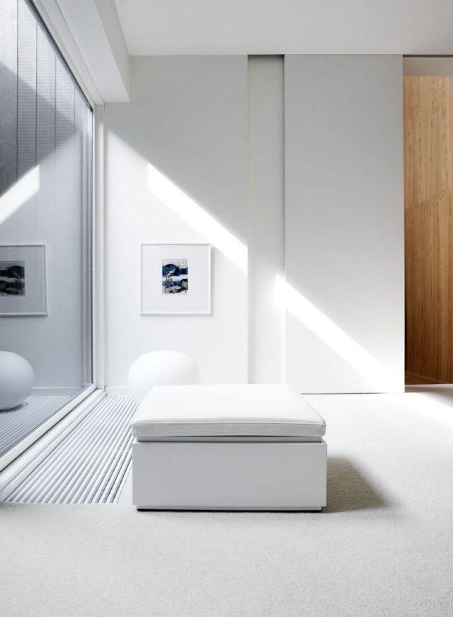 Glas schiebetür-Wand-weiß puristisch renoviertes einfamilienhaus ...