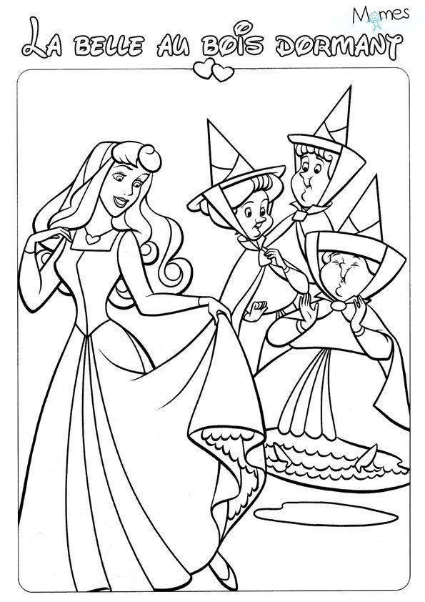 Coloriage aurore la belle au bois dormant disney princess coloring pages princess coloring - Dessin de la belle au bois dormant ...