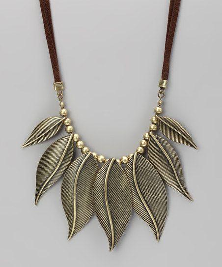 Gold Antique Leaves Bib Necklace