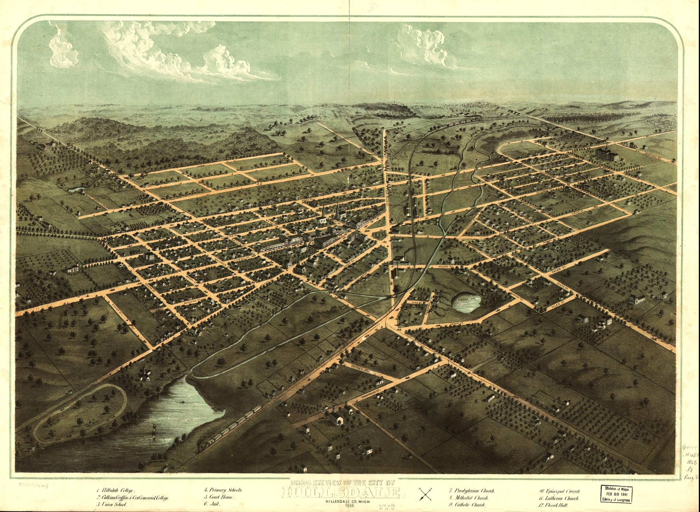 24x36 Vintage Reproduction Map of Weston West Virginia Lewis County 1900
